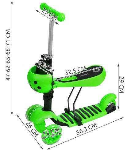 Katicás Roller 3in1 - Zöld, ledes világítással 4