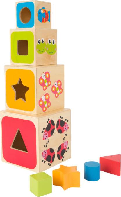 Formaillesztő fa építőjáték torony – betűk és számok 1