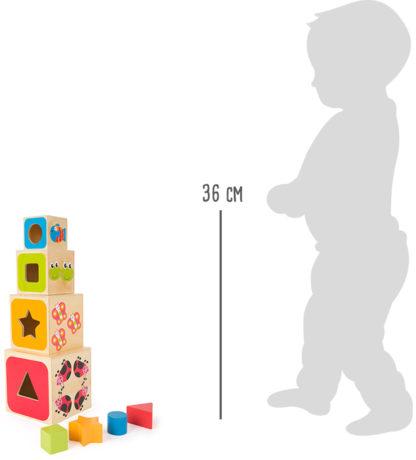 Formaillesztő fa építőjáték torony – betűk és számok 6