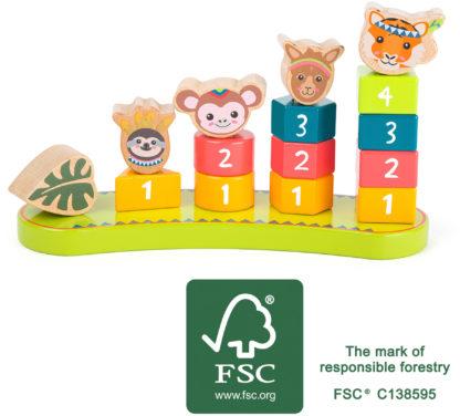 Színes formaválogató montessori torony - Dzsungel állatai 2