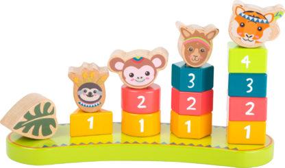 Színes formaválogató montessori torony - Dzsungel állatai 1