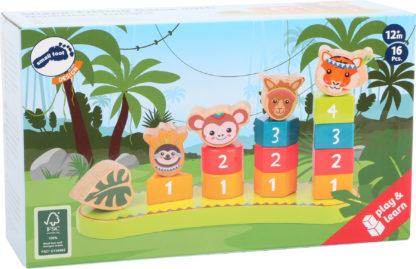 Színes formaválogató montessori torony - Dzsungel állatai 3